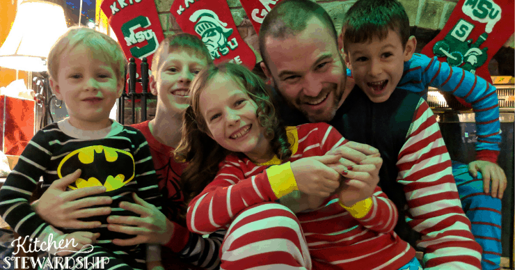 family in Christmas non-toxic pajamas
