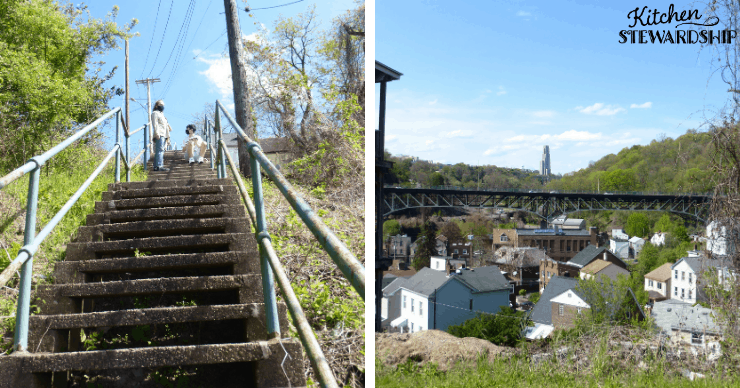 stairs in Pittsburg overlooking the city