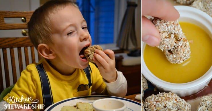 kid eating air fryer chicken nuggets