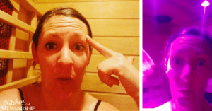 Katie sweating in the sauna