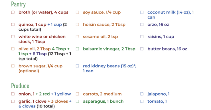 30 Minute Dinners Color Coded Shopping List