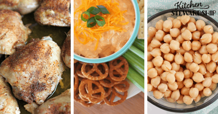 chicken, buffalo dip and chick peas