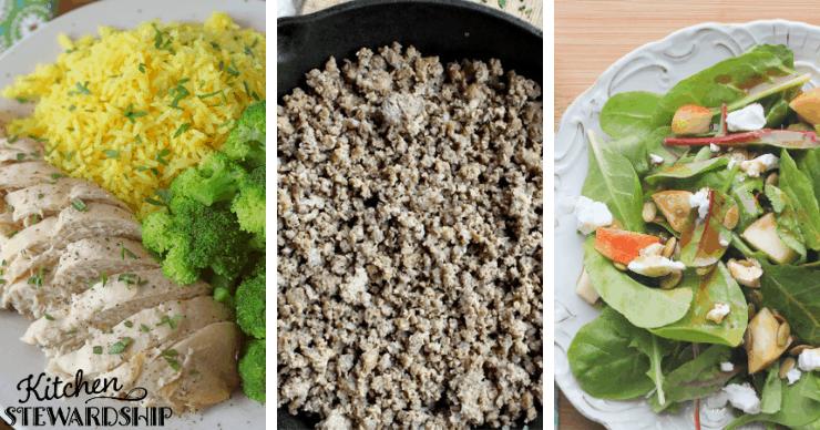 chicken, ground beef and salad
