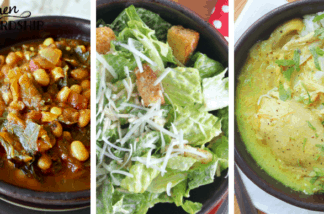 bean soup, salad and chicken