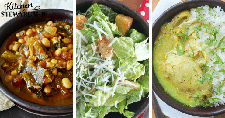 bean soup, salad and turmeric chicken