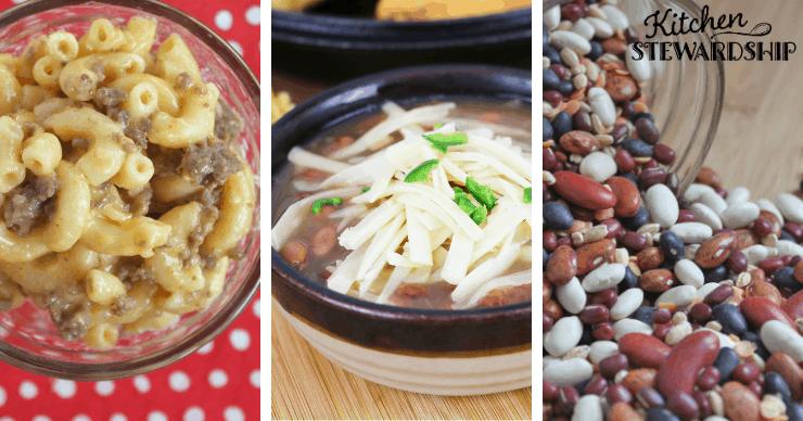hamburger mac, bean soup and dry beans