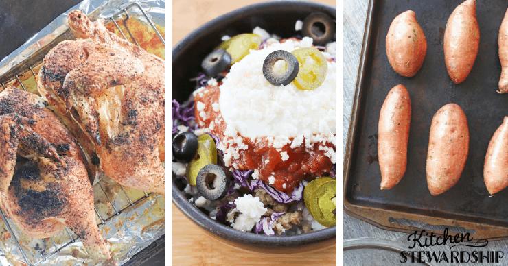 chicken, burrito bowl and sweet potatoe