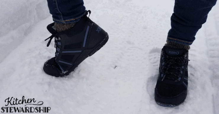 Xero shoes hiking boots in the snow