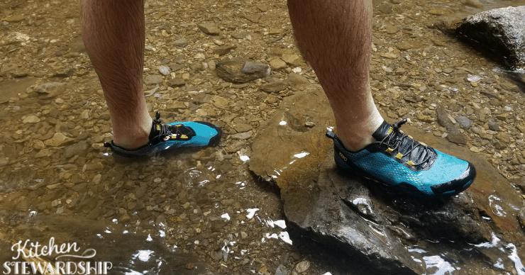 wearing Xero shoes water shoes