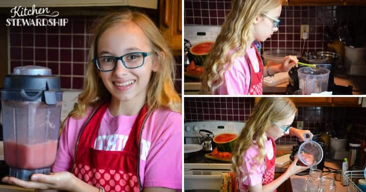 girl making watermelon slushies