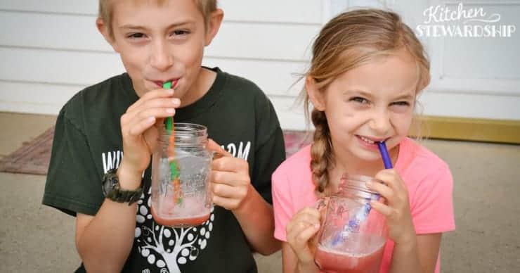 kids drinking watermelon slushies