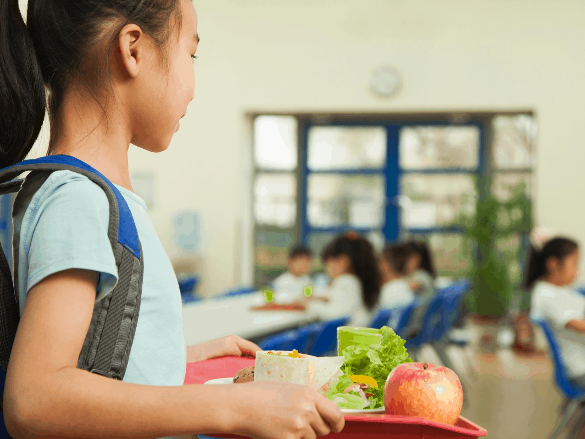 girl at school lunch